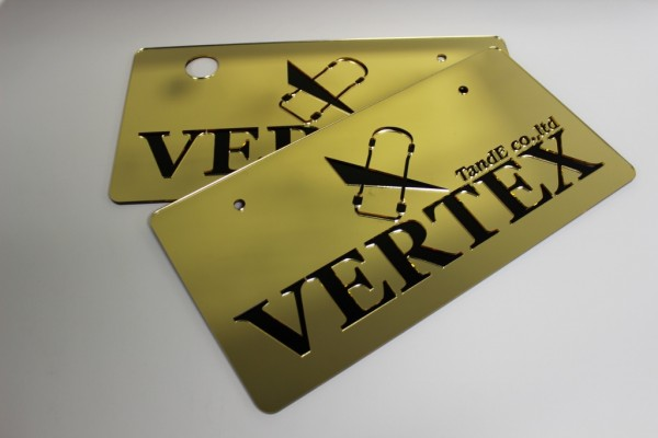 Vertex Laser Etched License Plate Covers (Gold)